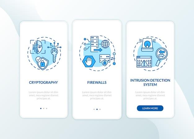 Écran de la page de l'application mobile d'intégration des mesures de cybersécurité avec concepts