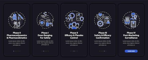 Écran de la page de l'application mobile d'intégration des phases de recherche avec des concepts