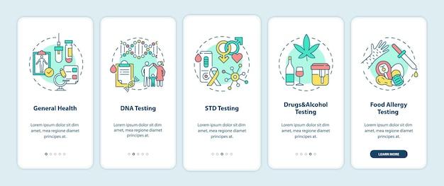 Écran de la page de l'application mobile d'intégration des principales catégories de tests avec illustrations de concepts