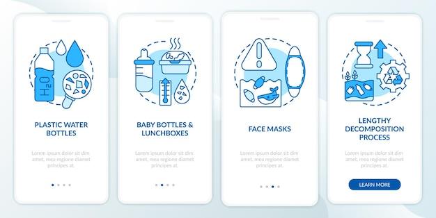 Écran de la page de l'application mobile d'intégration des principaux défis environnementaux avec des concepts. masques faciaux et bouteilles pas à pas avec instructions graphiques en 4 étapes. modèle d'interface utilisateur avec illustrations en couleurs rvb