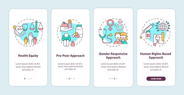 Écran de la page de l'application mobile d'intégration des principes des programmes de santé avec illustration des concepts
