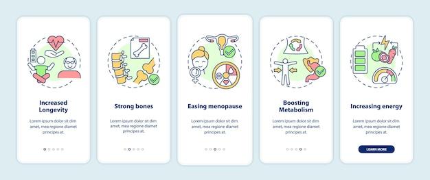 Écran de page d'application mobile d'intégration des pros du végétarisme avec des concepts