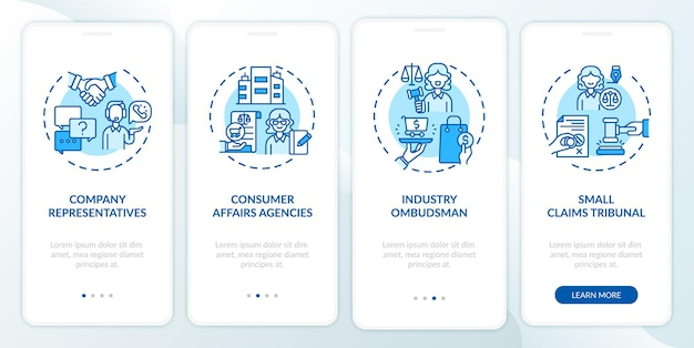 Écran de la page de l'application mobile d'intégration de la protection des consommateurs