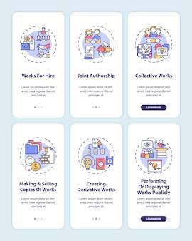 Écran de page de l'application mobile d'intégration de la protection de la loi sur le droit d'auteur avec ensemble de concepts