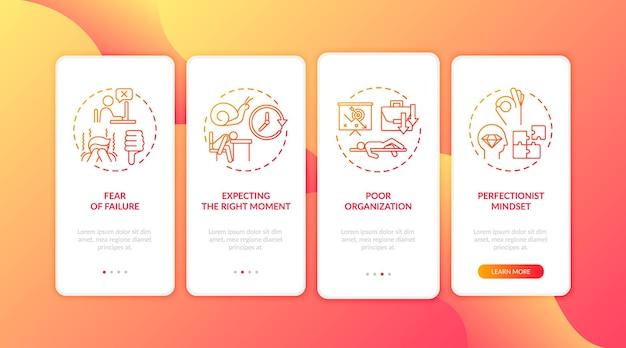 L'écran de la page de l'application mobile d'intégration des raisons de la procrastination avec illustration des concepts