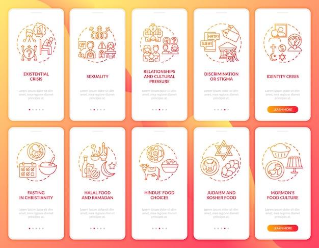 Écran de page de l'application mobile d'intégration des religions du monde rouge avec ensemble de concepts. nourriture et jeûne. procédure pas à pas sur les questions religieuses 5 étapes. modèle d'interface utilisateur avec illustrations en couleurs rvb