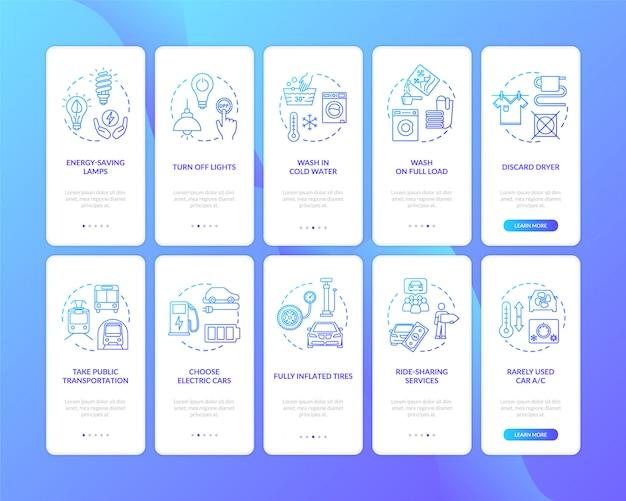 Écran de page d'application mobile d'intégration des ressources efficace avec ensemble de concepts
