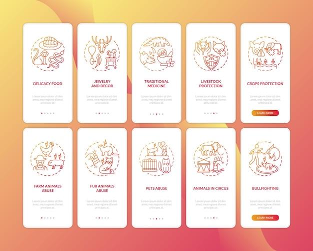 Écran de page d'application mobile d'intégration rouge de conservation de la faune avec ensemble de concepts