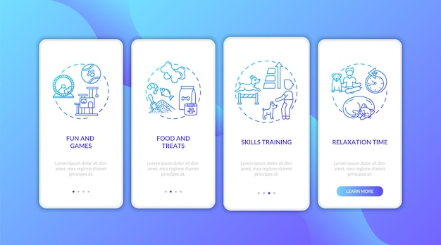 Écran de la page de l'application mobile d'intégration des services de camp de jour pour chiens avec concepts