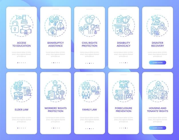 Écran de la page de l'application mobile d'intégration des services juridiques