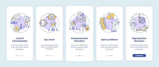 Écran de la page de l'application mobile d'intégration des symptômes de dépendance aux gadgets avec concepts
