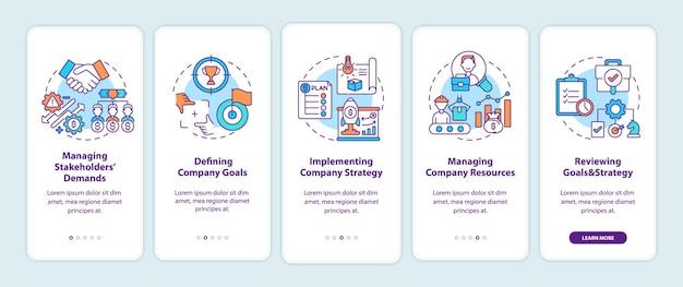 Écran de la page de l'application mobile d'intégration des tâches de gestion principales avec des concepts. la gestion des parties prenantes nécessite des instructions graphiques pas à pas en 5 étapes. modèle d'interface utilisateur avec illustrations en couleurs rvb