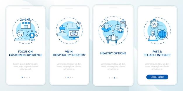 Écran de la page de l'application mobile d'intégration des tendances des voyages d'affaires avec des concepts