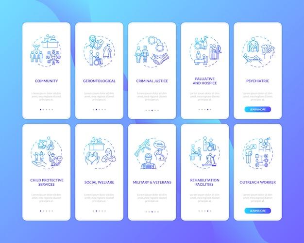 Écran de page de l'application mobile d'intégration des travailleurs sociaux avec des concepts
