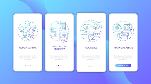 Écran de la page de l'application mobile d'intégration des types d'actifs incorporels avec concepts