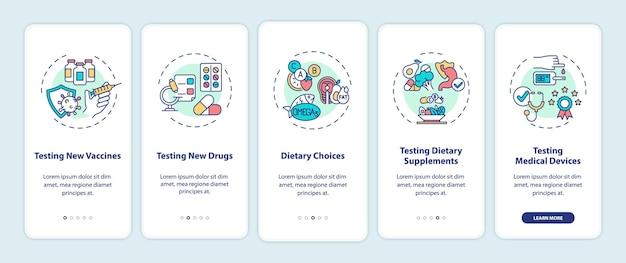 Écran de la page de l'application mobile d'intégration des types d'essais cliniques avec des concepts. nouveaux vaccins, médicaments, procédure pas à pas en 5 étapes, instructions graphiques.