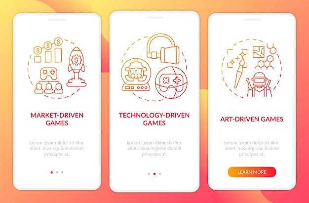 Écran de page d'application mobile d'intégration des types de jeux vidéo avec des concepts. processus de création de jeux axés sur l'art pas à pas en 3 étapes. modèle d'interface utilisateur avec couleur rvb