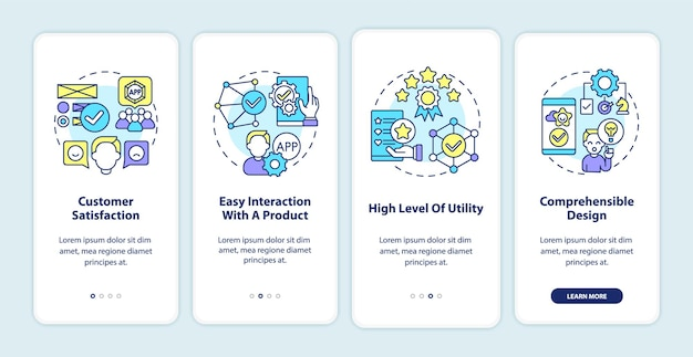 Écran de la page de l'application mobile d'intégration de l'utilisation du produit. satisfaction, procédure d'interaction facile, instructions graphiques en 4 étapes avec des concepts. modèle vectoriel ui, ux, gui avec illustrations linéaires en couleurs