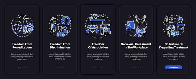 Écran de la page de l'application mobile sur les libertés des travailleurs migrants avec des concepts