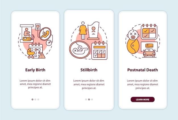 Écran de la page de l'application mobile pour les cas d'admissibilité au congé de maternité. instructions graphiques en 3 étapes sur les risques du travail avec des concepts. modèle vectoriel ui, ux, gui avec illustrations linéaires en couleurs
