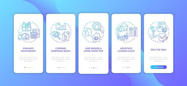 Écran de la page de l'application mobile pour les premiers acheteurs de maison