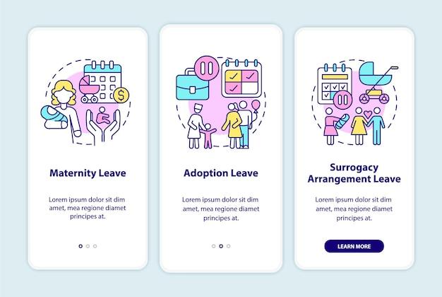 Écran de la page de l'application mobile des types de congé de maternité d'intégration. adoption, procédure pas à pas pour la maternité de substitution, instructions graphiques en 3 étapes avec des concepts. modèle vectoriel ui, ux, gui avec illustrations linéaires en couleurs