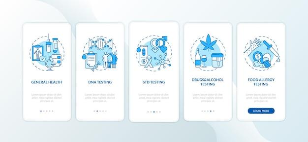 Écran de la page des applications mobiles d'intégration des principales catégories de tests avec des concepts