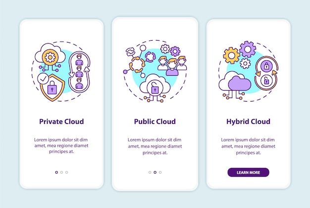 Écran de la page d'intégration des modèles de déploiement saas avec des concepts. procédure pas à pas pour les clouds privés, publics et hybrides en 3 étapes. modèle d'interface utilisateur avec couleur rvb