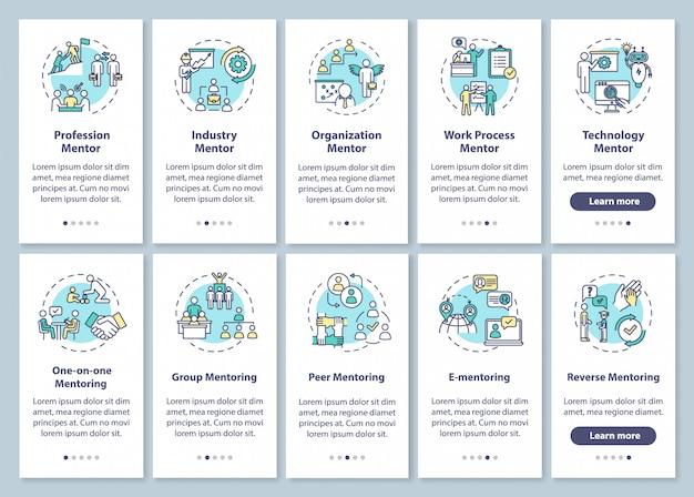 Écran de page de mentorat d'intégration de l'application mobile avec des concepts