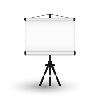 Écran de projection portable vide sur un trépied.