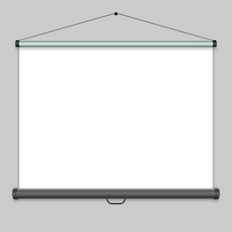 Écran de projection réaliste 3d, tableau blanc de présentation. illustration vectorielle