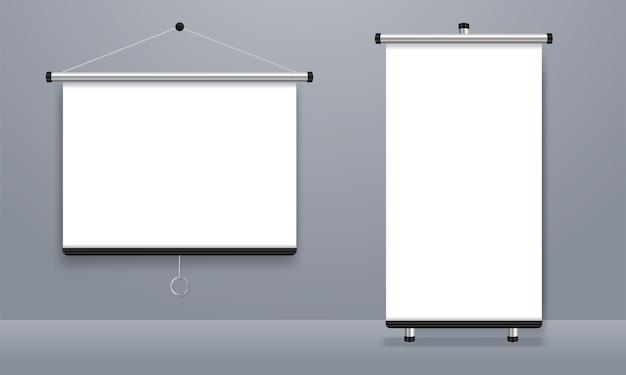 Écran de projection vide, tableau de présentation, tableau blanc vierge pour la conférence
