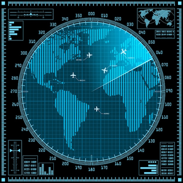 Écran radar bleu avec avions et carte du monde