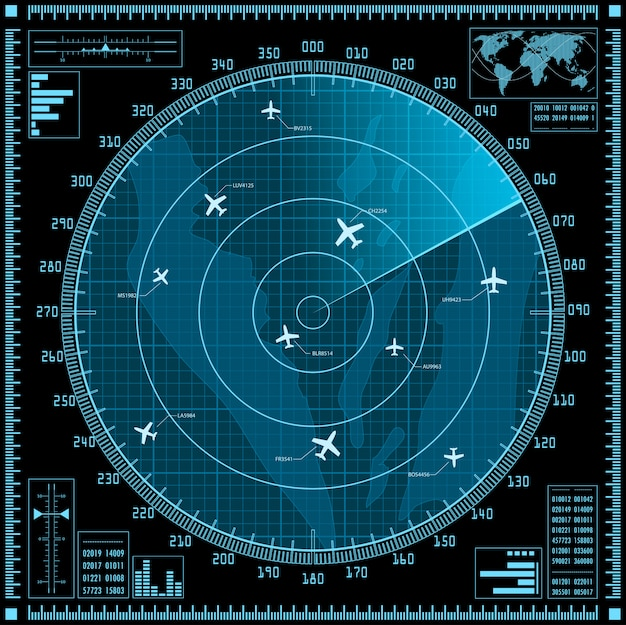 Écran radar bleu avec des avions