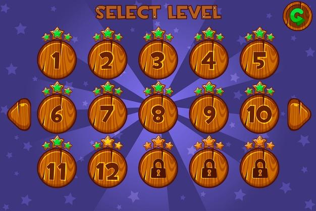 Écran de sélection de niveau en bois de dessin animé. jeu d'interface utilisateur