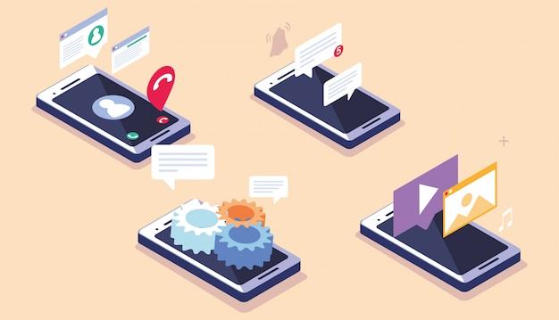 Écran smartphone avec applications mobiles