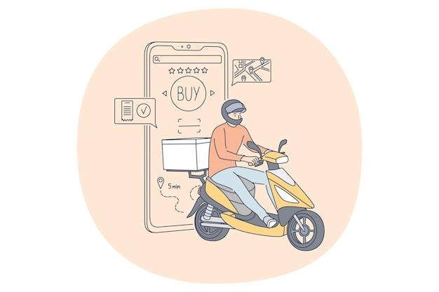 Écran de smartphone avec carte d'achat et commande en ligne