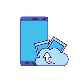 Écran de smartphone avec icône isolé téléchargement nuage
