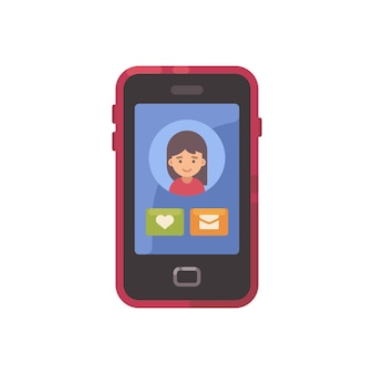 Écran de smartphone avec une interface sociale et une icône plate avatar de fille. application de rencontres illu