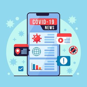 Écran de smartphone avec mise à jour du coronavirus