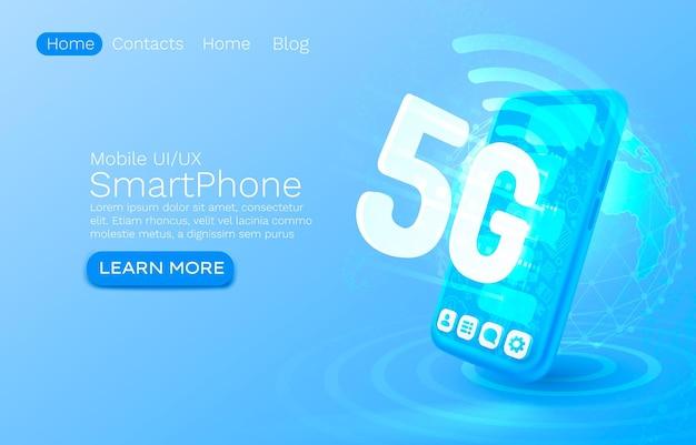 Écran téléphone néon icône g réseau fond bleu moderne service mobile vecteur