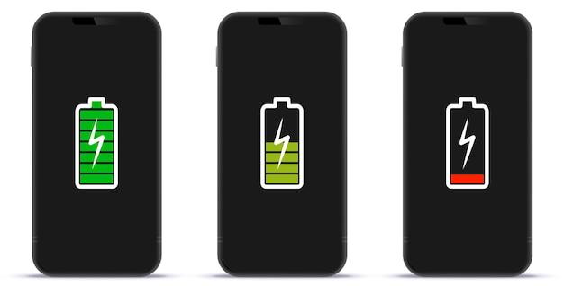 Écran de téléphone portable avec des icônes d'indicateur de charge de batterie pleine moyenne et faible illustration vectorielle