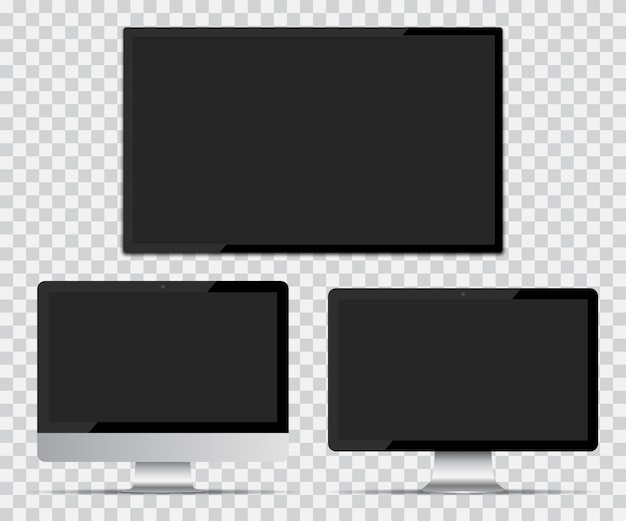 Écran de télévision et écrans d'ordinateur avec écran vide