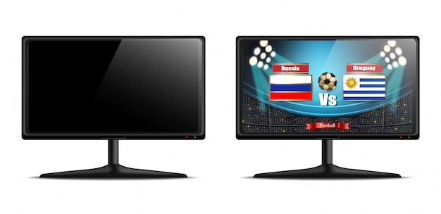 Écran tv avec match de football vector réaliste
