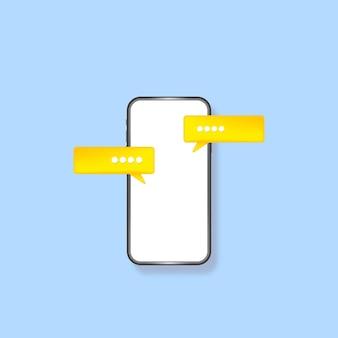 Écran vide de smartphone avec message