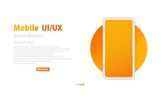 Écran vide de smartphone. smartphone sans cadre. design moderne. maquette de l'appareil. conception ui ux avec téléphone pour la page du site web. vecteur eps 10. isolé sur fond blanc.