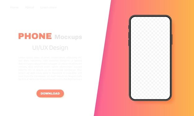 Écran vide de smartphone, téléphone. modèle pour infographie, présentation ou application mobile. interface de l'interface utilisateur. illustration moderne.