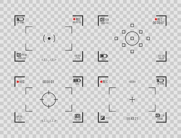 Écran de viseurs d'affichage de cam d'enregistreur pour l'ensemble de vecteurs d'aperçu d'enregistrement de film