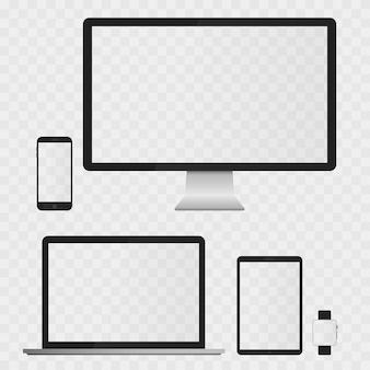Écrans d'appareils électroniques isolés sur fond blanc