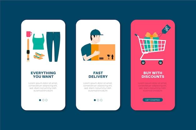 Écrans d'application définis pour l'achat en ligne